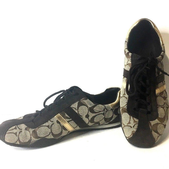 ee7eec92d Coach Shoes - coach womens shoes size 10 Brown Gold Lace Up